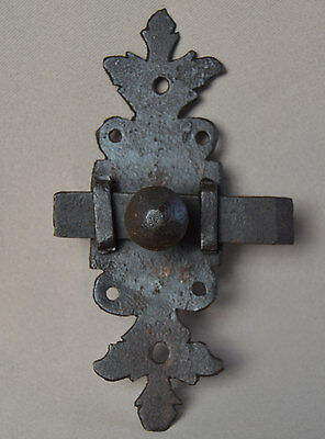 Antique French Decorative Wrought Iron Door Bolt Lock Hardware 18th.c Repurpose