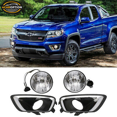 Fits 15-17 Chevy Colorado Front Fog Lamp Foglight Pair LH RH Clear Lens