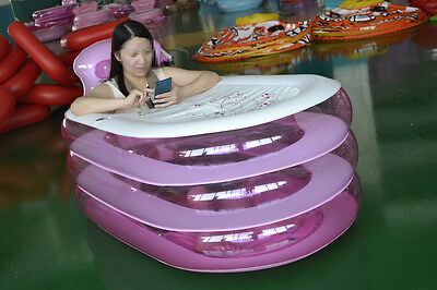 New Foldable Durable Adult SPA Inflatable Bath Tub with Electric Air Pump Pink