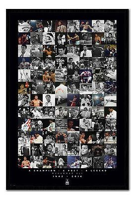 Framed Muhammad Ali Commemorative Montage Boxing Poster New