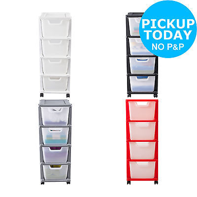 HOME @Argos 4Drawer Plastic Tower Storage Unit Choice of White/Black/Silver/Red.