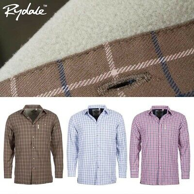 Rydale Fleece Lined Country Check Shirts Men's Long Sleeve Brushed Cotton Casual
