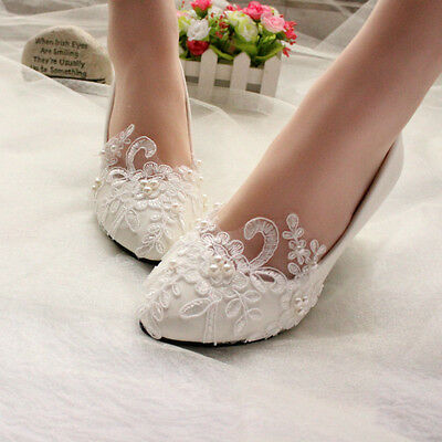 White Ivory Lace Pearl Wedding shoes Bridal bridesmades flats low high heel pump