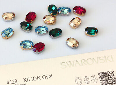 Genuine SWAROVSKI 4128 XILION Oval Crystals 14x10mm with Sew On Metal Settings