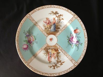Dresden Decorating Plate Hand Painted Courting Couple Scenes Floral Panels