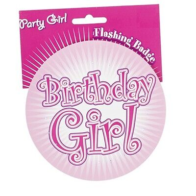 Big Jumbo Flashing Pink Birthday Girl Party Badge Light Up Badges