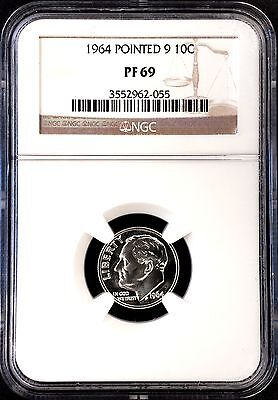 1964 Proof Roosevelt Dime, Pointed 9 variety, graded PF 69 by NGC!
