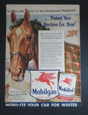 Original 1942 Print Ad MOBILGAS Protect Your Wartime Car Horse Mobiloil