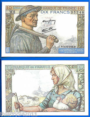 France 10 Francs 1942 11 June Serie W Mineur Collier WWII Frcs Free Ship World