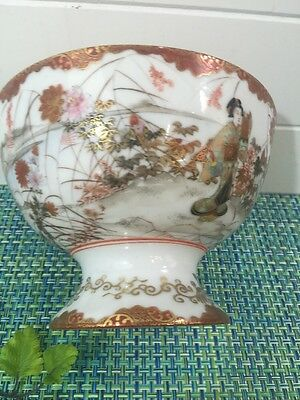 """Antique Porcelain Footed Serving Bowl Geisha & Cherry Blossoms 6 5/8"""" Tall."""