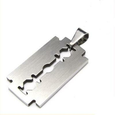 Stainless steel RAZOR BLADE MEN'S necklace PENDANT DOG TAG charm Silver cool New