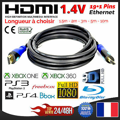 Cable HDMI 1.4V Ethernet PS3 PS4 XBox HD TV 3D BluRay 1080p 1.5m 2m 3m 5m 10m
