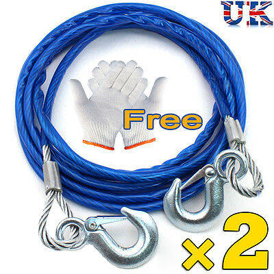 2x Tow Ropes 5 Tonne 4M Heavy Duty Pull Steel Wire Van Car Road Recovery Hook