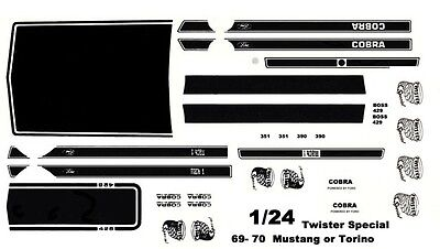 1970 Ford Mustang or Torino Twister spl 1/25th - 1/24th Scale Waterslide Decals