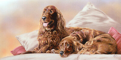 "IRISH RED SETTER GUN DOG FINE ART LIMITED EDITION PRINT  ""Set Two"" by Paul Doyle"