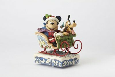 Jim Shore Disney Traditions Mickey and Pluto in Sleigh 4052003 LIMITED Musical