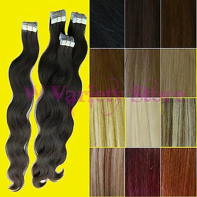 BODY WAVE WAVY TAPE SKIN WEFT 100% REMY HUMAN HAIR EXTENSIONS Brown Blonde Black