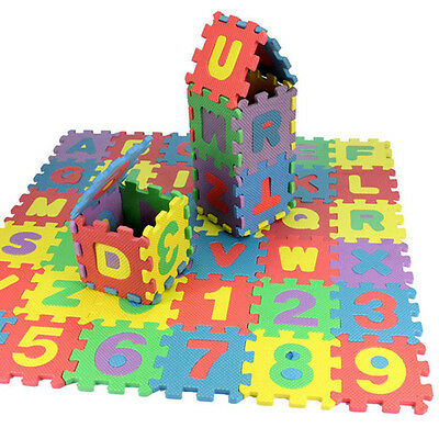 36pcs Creative Kids Alphanumeric Educational Puzzle Blocks Changeable Toy