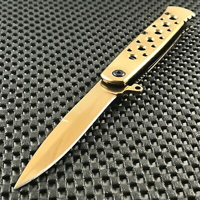 "7"" TAC FORCE GOLD Spectrum STILETTO Spring Assisted Open Folding Pocket Knife"