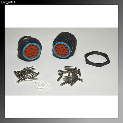 Deutsch HDP20 16-Pin Genuine Bulkhead Connector & Ring kit, 12 AWG Contacts
