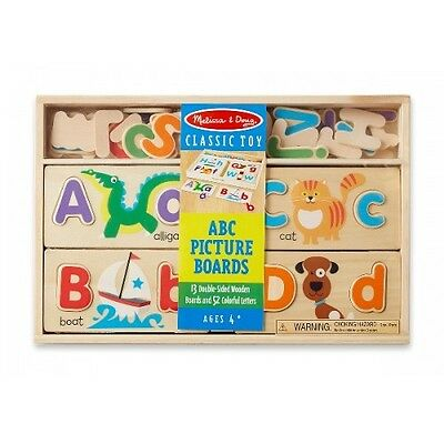 Melissa and Doug ABC Picture Boards - Kids Classic Wooden Learning Puzzle Toy