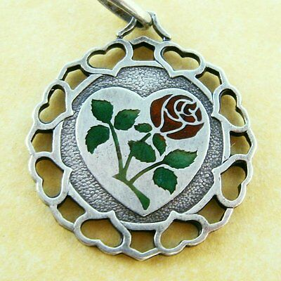 Vintage 800 Silver Enamel Italian Valentine Heart Charm My Love is a Rose I Give