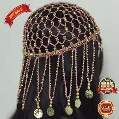AU Belly Dancing Hair Accessories Hats Cap Headpiece Tassel with Bead