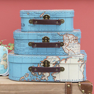Vintage Suitcases Set of 3 Storage Boxes-Vintage Maps