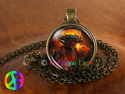 Handmade Fantasy Dragon Jewelry Necklace Pendant Charm Gift Gifts