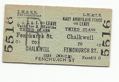 LMS ticket, Chalkwell to Fenchurch Street