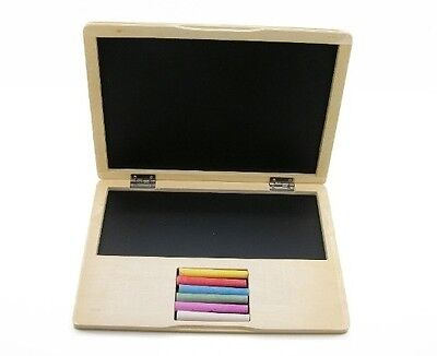 Children's Portable Wooden Notebook Blackboard Laptop Toy with Coloured Chalk!