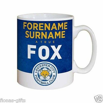 Personalised LEICESTER CITY Football Club FC Emblem Foxes Mug Licensed