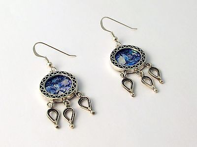 Special New Sterling Silver Blue Roman Glass Earrings Nice Round Drops Filigree