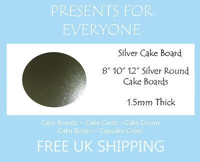 "8"" 10"" 12"" Inch Round Silver Covered Cake Board FREE SHIPPING"