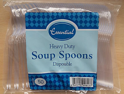 Heavy Duty Clear Plastic Disposable Soup Spoons 50 Pack Great Value!
