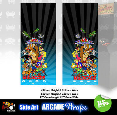 Multigame Blue Arcade Side Artwork Panel Stickers Graphics / Laminated All Sizes