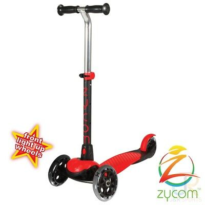 Zycom Zing 3 Wheel Foldable Kids Scooter + Light Up Wheels, Red/Black