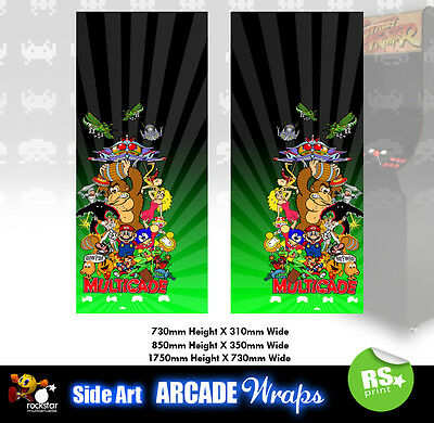 Multigame Green  Arcade Side Artwork Panel Stickers Graphics Laminated All Sizes