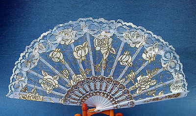 Hand fan Folding fan with lace and Rose motif White Gold painted 43 cm