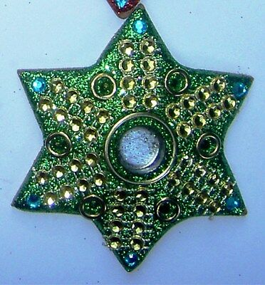 Glittery Star Incense Cone Holders Green 75mm