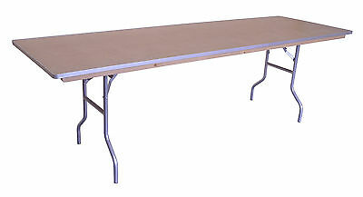 (2) Wood Folding Dining Tables 8ft Rectangular Banquet Table Premium Quality