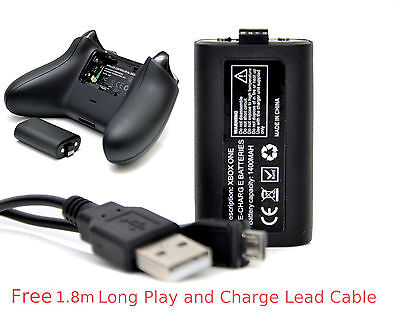 XBOX ONE Rechargeable Battery Pack+1.8m Long Lead Cable for Wireless Controller