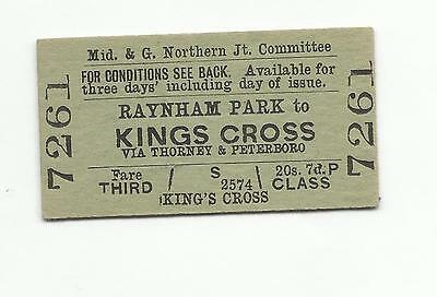 Midland & GN ticket, Raynham Park to Kings Cross