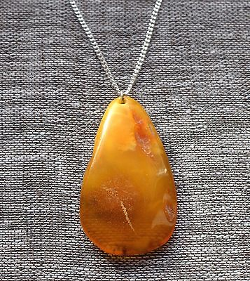 9,1 gr Genuine natural antique baltic amber egg yolk butterscotch pendant ????