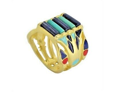 Egyptian Enameled Lotus Ring, Size 7 Gold Plated with Lapis and Turquoise Beads