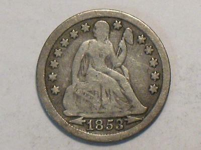 1853 w/ ARROWS SEATED LIBERTY DIME - 90% SILVER UNITED STATES COIN