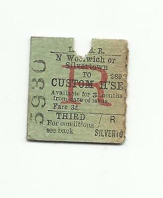 LNER ticket, North Woolwich or Silvertown to Custom House, 1932
