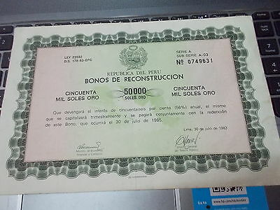 jb256 bond stock certificate accion peru signed 1983 50000 reconstruccion bono