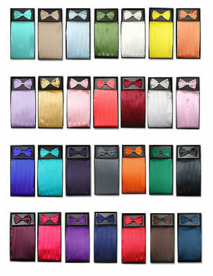 SILK Cumberbund & BowTie Solid Color Men's Cummerbund Bow Tie Set Over 25 Colors