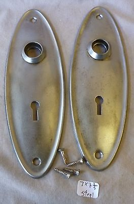 "Door Knob Back Plates (pr) OVAL brushed & lacquered steel 7""h x 2 3/8""w"